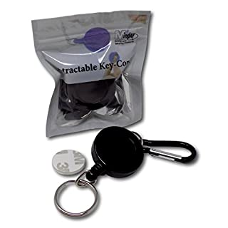 EPOSGEAR Retractable Reel Recoil Pull Key Ring Chain Cord Carabiner Belt Clip Ski Pass ID Card Badge Holder (1 Pack, Black - Keyring)