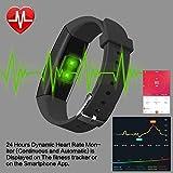 HETP Fitness Armband mit Pulsmesser Fitness Tracker Uhr Wasserdicht IP67 Blutdruckmesser Schrittzähler Uhr Stoppuhr Sport Aktivitätstracker Anruf SMS für Kinder Damen Männer - 2
