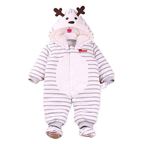 Baby Rompers, FEITONG Baby Outfits Jungen Mädchen Streifen Elch Cartoon Hoodie Spielanzug Outfits Baumwolle Bekleidung (12M, (Jacket Kostüme Smoking Herren)