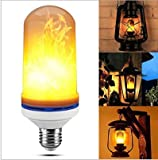 4pcs LED Flame Effect Light Bulb E27 Base 3 Mode Flickering Lamp with Upside Down Effect 7W for Halloween, Home, Bar, Party Decoration