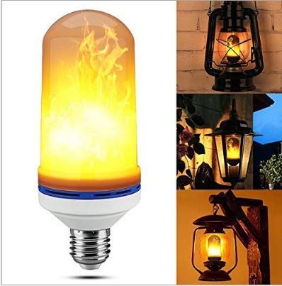 2pcs LED Flame Effect Light Bulb E27 Base 3 Mode Flickering Lamp with Upside Down Effect 7W for Halloween, Home, Bar, Party Decoration -