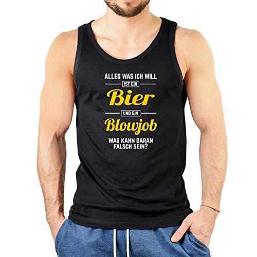 Goodman Design  Herren Tanktop mit versautem Motiv - Alles was ich Will ist EIN Bier und EIN Blowjob - Oberteil - Tank Top - schwarz