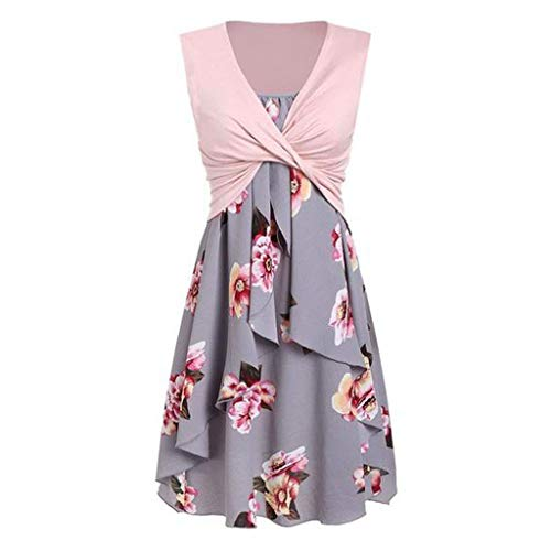 Price comparison product image HotsellDresses for Wedding Guest Women~Ladies Sleeveless Vintage Floral Bardot Dress,  Formal Evening Cocktail Party Retro Swing Dress Occasion Dresses + Bolero Plus Size S-XXL (Pink D