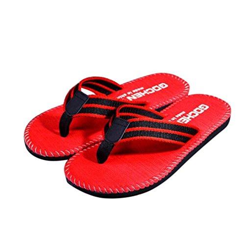 Transer® Herren Flach Zehentrenner Hausschuhe Schwarz Rot Khaki Nylon EVA Haus Strand Dusche Slipper (Bitte achten Sie auf die Größentabelle. Bitte eine Nummer größer bestellen) Rot