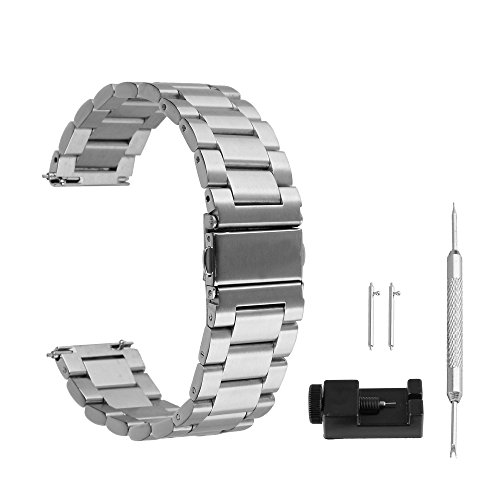 BEWISH 22mm Uhrenarmbänder Edelstahl Ersatzband Solide Metall Schnellwechselbügel Schmetterling Uhrarmband Faltschließe Wechselarmband Uhr Armband Smart Watch Wrist Strap Band...