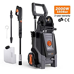 41MB4G75AUL. SS300  - Pressure Washer, 160Bars 2000W 450L/H Full Copper Motor Pump Jet Washers, 6M High Pressure Hose and Hose Reel, 1000ML Detergent Tank Power Pressure Washer High Pressure Washer, Car Washing Machine