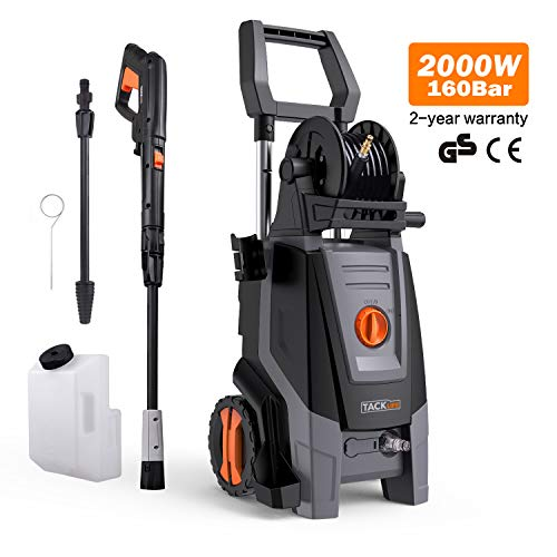 Pressure Washer, 160 Bar 2000 W 450 L/H Jet Washers, Car Power Washer Retractable Handle, Power Washer Copper Motor Pump, Pressurized Hose Reel , 6m High Pressure Power Hose, 5mPower Cord, Firm Spray Gun and 2 Infinitely Adjustable Nozzle, Fast Inserting Joint, Car Washing Machine PPW002R