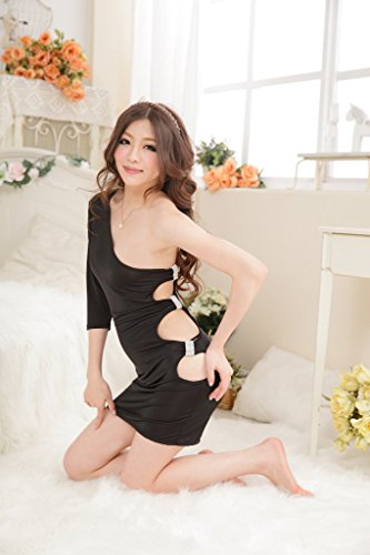 Smile YKK Femme One-shoulder Robe Hollow Out Lingerie Sexy Noir