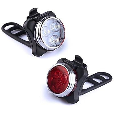 Fahrradlampe LED mit USB zum Aufladen Akku Vorne Hinten Set wiederaufladbar aufladbar abnehmbar zum Klemmen Frontlicht Vorderlicht für Rad Fahrrad Frontlicht Rücklicht