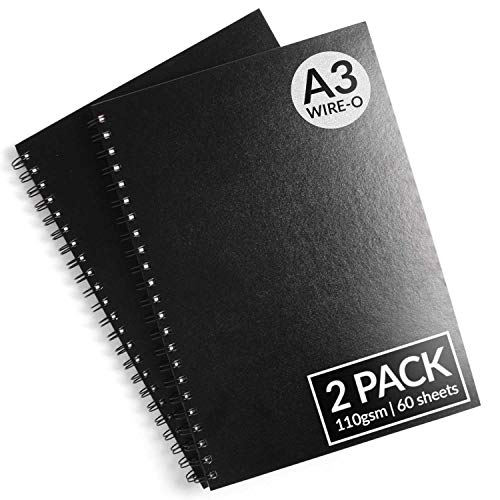 A3 Sketchbook - Pack of 2 - A3 Wire-O Bound Sketchbook Wiro Sketch Drawing Book with Hardback Cover, A4 Portrait Size, 110 GSM, 60 Perforated Sheets, Acid Free White Cartridge Paper by Artistik Hardback Cover