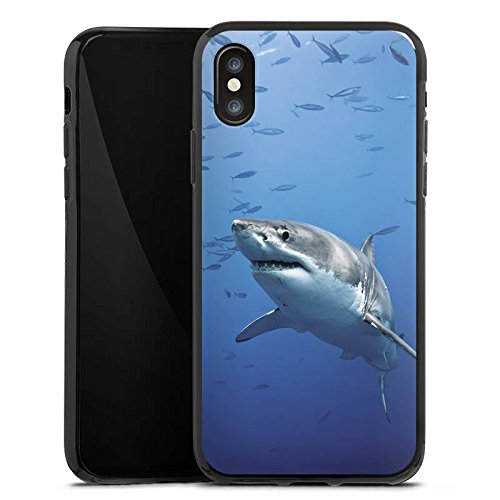 Apple iPhone X Silikon Hülle Case Schutzhülle Hai Fisch Weißer Hai Silikon Case schwarz