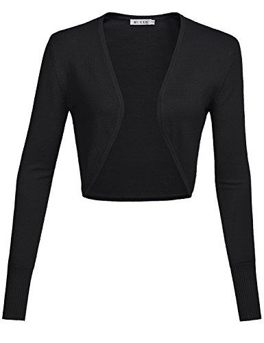 MUXXN Damen Strickjacken Achselzucken für Retro Kleider Langarm Kurz Jäckchen(S, Black)