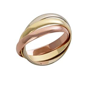 Theia 9ct Russian Wedding Ring - 3 mm, Yellow White and Rose Gold, Size Q