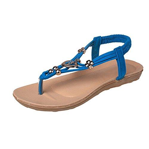 Minetom Donne Infradito Piatte Con Fiori Sandali Elastici Boemi Dolci Estate Sandali Comodo Con Perline Sandali Estivi di PU Scarpe Sandali Blu