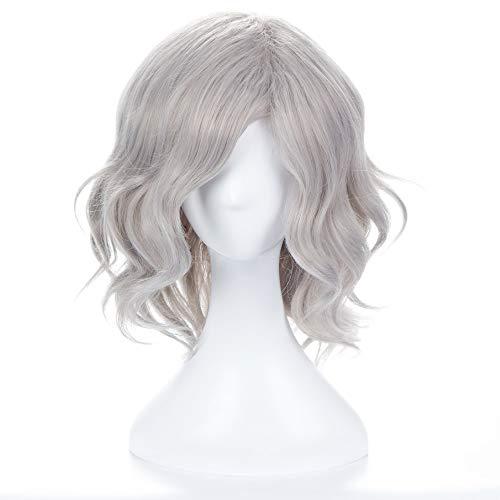 Perruque de cheveux gris clair blanc Gericht, Mode féminine Glamour Haute Qualité Résistant à la Chaleur Naturel Cosplay Kostüm Halloween Party Haute température fil