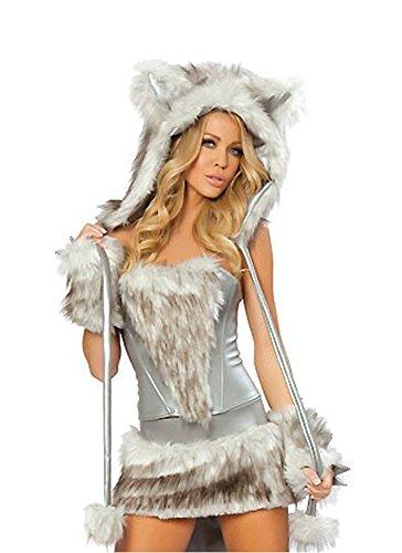 Honeystore Damen Halloween Catwoman Kostüme Rollenspiel Cosplay Spiel Uniform Allerheiligen Weihnachten Kleider (Teletubbies Kostüm Ideen)