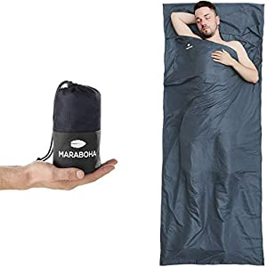 Maraboha Hüttenschlafsack Leicht mit Extra Kissenfach, aus Mikrofaser, Ultraleichter Reiseschlafsack für Hostels, Hütten und Backpacking, Schlafsack Inlay Inlett