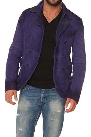 Dsquared² Leather Jacket , Color: Violet, Size: 48