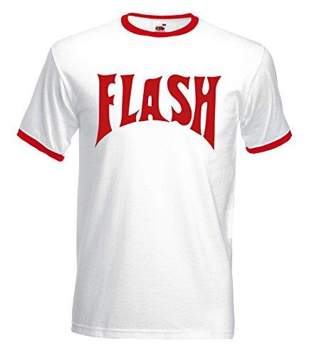 Flash Camp 80`s Movie Funny Mens Herren Fit Ringer T-Shirt (Camp-t-shirt-designs)