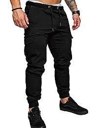 SOMTHRON Hombre Cinturón de Cintura elástico Pantalones de chándal de algodón Largo Jogging Pantalones de Carga Deportiva de Talla Grande Pantalones Cortos con Bolsillos Pantalones