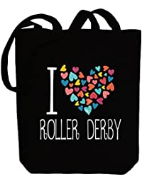 Idakoos I love Roller Derby colorful hearts - Deportes - Bolsa de Lona