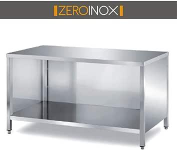 profondit/à 60cm ZeroInox Tavolo Acciaio Inox L80xP60x85H Armadiato a Giorno