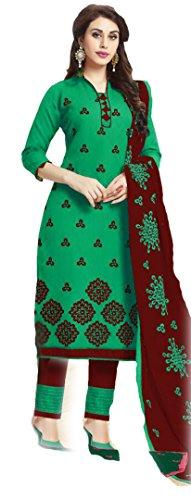 Shree Ganesh Retail Women's Cotton Embroidered Chanderi Churidar Salwar Kameez Un-stitched Dress...