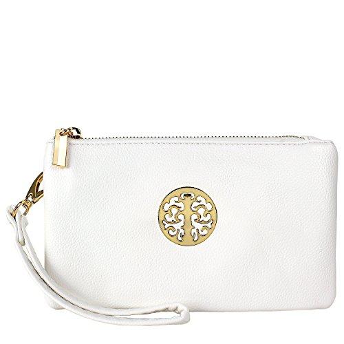 Handbag, clutchbag, Wristlet Clutch with Shoulder Strap Fit Phone (White)