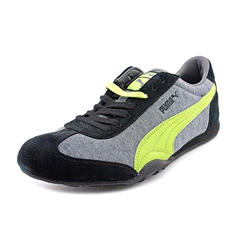 Puma 76 Runner Jersey Daim Baskets Black-Gray-Lime Punch