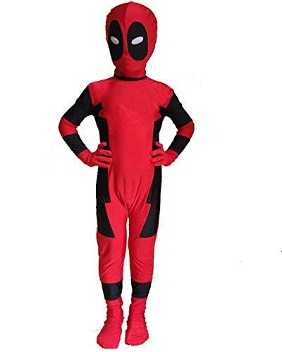 FYBR Kinder Deadpool SuperSkin Kostüm - Kinder Unisex Jungen & Mädchen Einteiler, Zentai Animal Cosplay Outfit Halloween Kleidung Lycra Spandex - Größe S