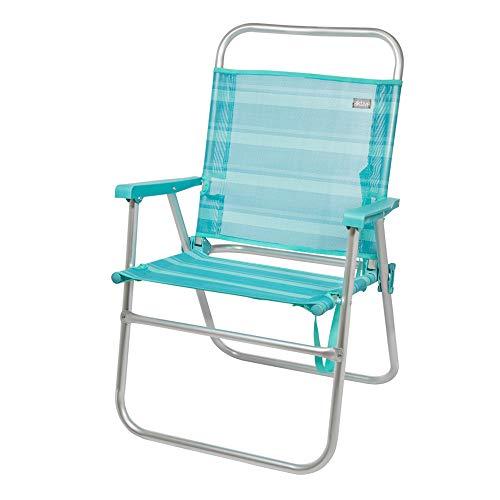 AKTIVE 53960 Silla Plegable Fija Aluminio Beach, 51 x 56 x 90 cm, Azul Claro