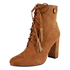 2a5eaf8ae09 Womens Ladies Lace Up High Heels Faux Suede Ankle Boots - Casual ...
