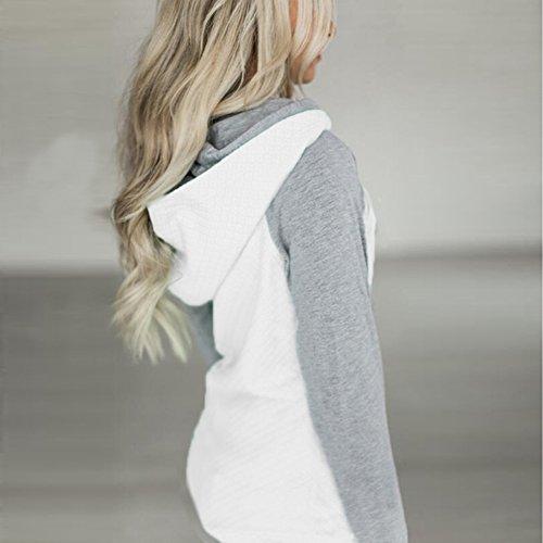 Femme Sweat à capuche Hiver Pullover - Manches Longues Manteau Slim Fit Jumper Pull Hoodie Sport Sweat Shirt Casual Sweatshirt Hauts Tops Highdas Blanc