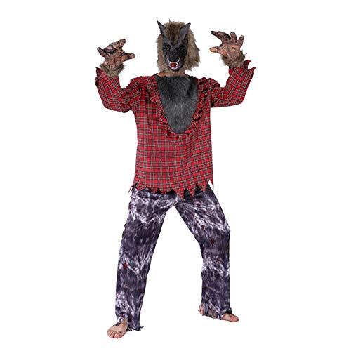 TTSTR Erwachsene Deluxe Werwolf Kostüm Einstellen Zum Paare Halloween Bilden Party Heulen Beim Der Mond,Men