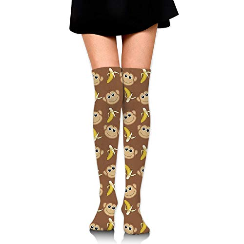 Warmer Thigh Cotton Thick Compression Socks Athletic Travel Football Outdoor Socks Over Knee High Long Tube Monkey Lovs Banana Stockings ()