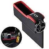Autositztasche, Fansport Seitentasche der Konsole Seat Filler Gap Catcher mit Münz Organizer und Getränkehalter