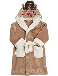 Kidz Niñas Navidad reno albornoz de forro polar marrón