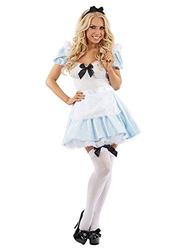 MIXLOT Frauen sexy erwachsene Mädchen Alice im Wunderland Tee Party Halloween Kostüm Scary Creepy Fancy Kleid Größe S-XL (Large, Alice im Wunderland Kostüm) (Halloween Kostüme Für Alice Im Wunderland)