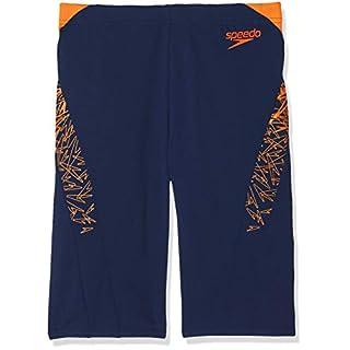 Speedo Men's Boom Splice' Aqua Shorts, Navy/Pure Orange, 38