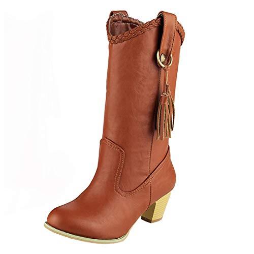 YE Damen Western Boots Cowgirl Stiefel Blockabsatz Schlupfstiefel Comfortable Winter Halbschaft Stiefel Ohne Verschluss Warme Boots Schuhe(Braun,38)