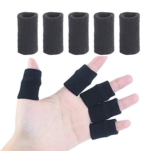 Amorar 10 Stck Fingerbandagen Fingerschützer Fingerhülse Fingerschutz Fingerhülle Schutz Finger Sportschutzausrüstung Knöchelschutz für Basketball, Volleyball Schwarz,EINWEG Verpackung Verpackung