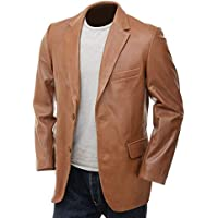 Hidekin® - A Slim, Sophisticated Leather Blazer in The Softest, Sheep Nappa Hide. (Tan, XX-Large)