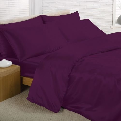 6PC Satin Silk Luxury Feel Complete Duvet Cover Bed Sheet Set In 6 Colours (Superking, Purple) by Beautifeye (6pc-duvet-set)