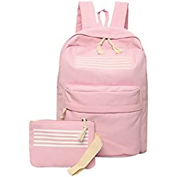Rrimin 2pcs Teenagers Canvas School Bag Strip Backpacks Outdoor Bag (Pink)