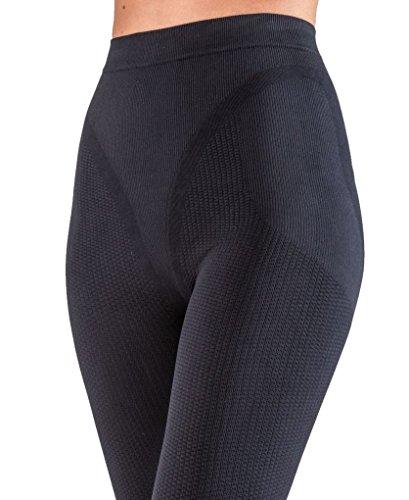 Figurformende Anti-Cellulite lange Hose (Leggings) mit Massageeffekt - schwarz Größe M
