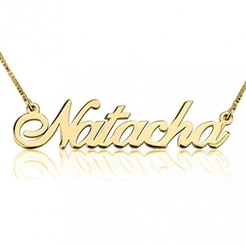 HACOOL Name personalisierte 18 Karat vergoldet Beauty Name Halskette Anhänger Schmuck Custom Made mit any Namen (Gold) (James Avery-silber-schmuck)