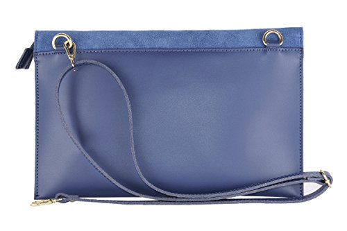 BORDERLINE - 100% Made in Italy - Pochette en cuir avec des clous - MONICA Bleu