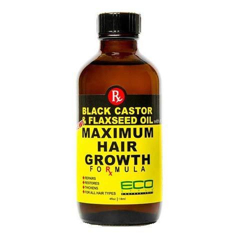 ECO Style Noir Castor et huile de lin pour la pousse des cheveux Formule 60 ml/0,1 l