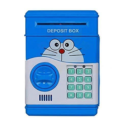 Electronic Password Protected Money Saving Vault, Safe, Coin Piggy Bank, Desposite Box for Kids, Children Coin Bank (Blue Doraemon )