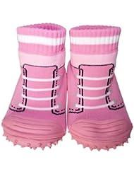 C2BB - Chaussons-chaussettes enfant antidérapants semelle souple fille   Baskets rose